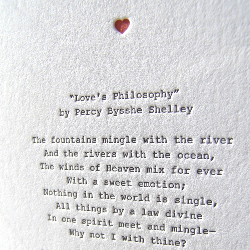 Opening Verse - Shelley's 'Love's Philosophy' c. etsy.com